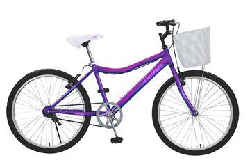 Imagen de Bicicleta Okan Rodado 24 Perla Niña/Dama con canasto color violeta 242002