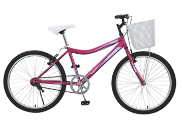 Imagen de Bicicleta Okan Rodado 24 Perla Niña/Dama color lila con canasto  242004